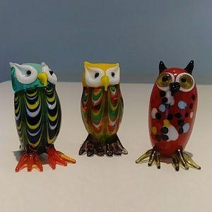 Lenox minature hand blown art glass owls